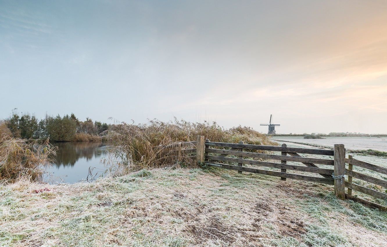 Photo wallpaper frost, field, autumn, nature, the fence