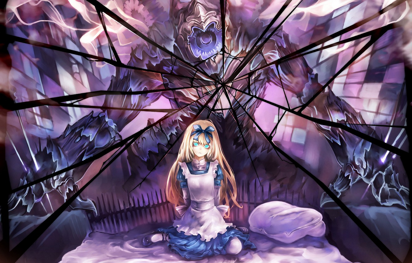 Wallpaper Girl Fear Monster Anime Mirror Art Alice Suzuya