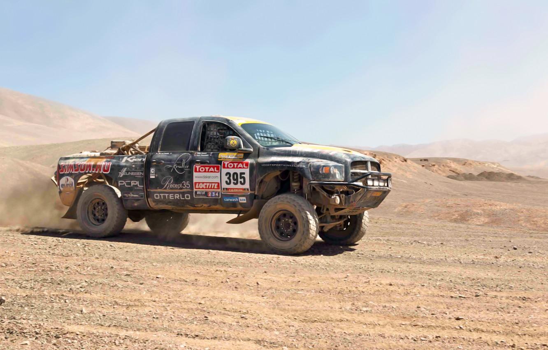 Photo wallpaper Sand, Auto, Sport, Machine, Dodge, Day, Jeep, Heat, Rally, Dakar, SUV, 2500, Dodge Ram