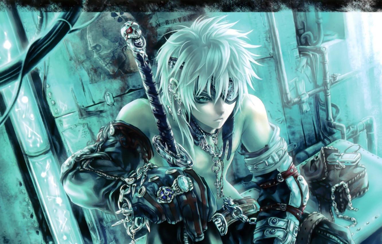 Photo wallpaper ring, sword, anime, warrior, chain, skull, meditation