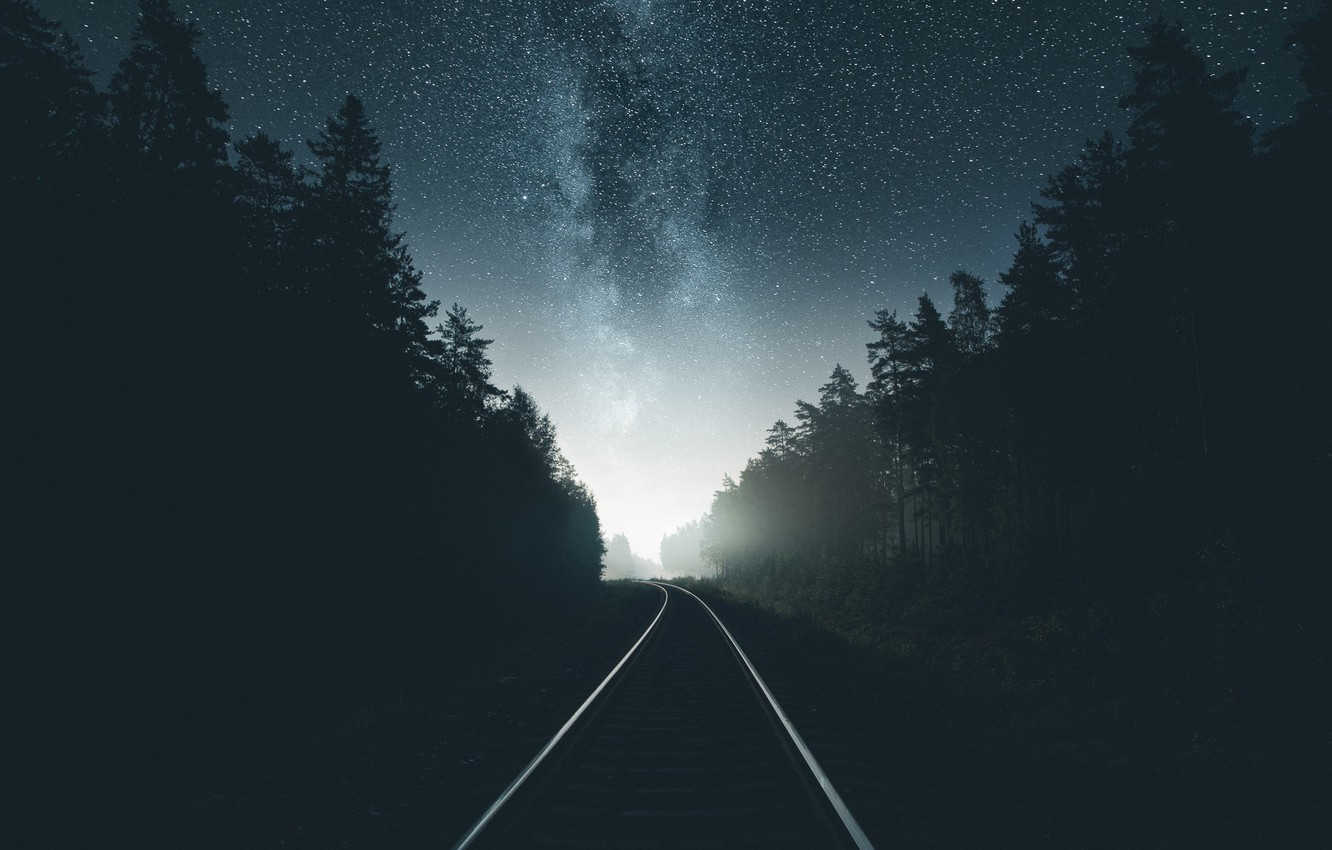 Photo wallpaper road, forest, the sky, stars, night, iron, the milky way