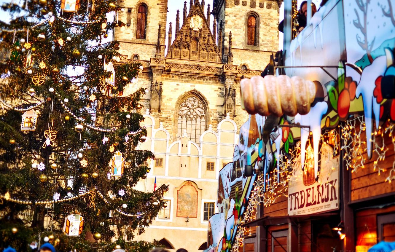 Photo wallpaper city, the city, new year, Christmas, Prague, Czech Republic, area, Christmas, New Year, Prague, Praha, …