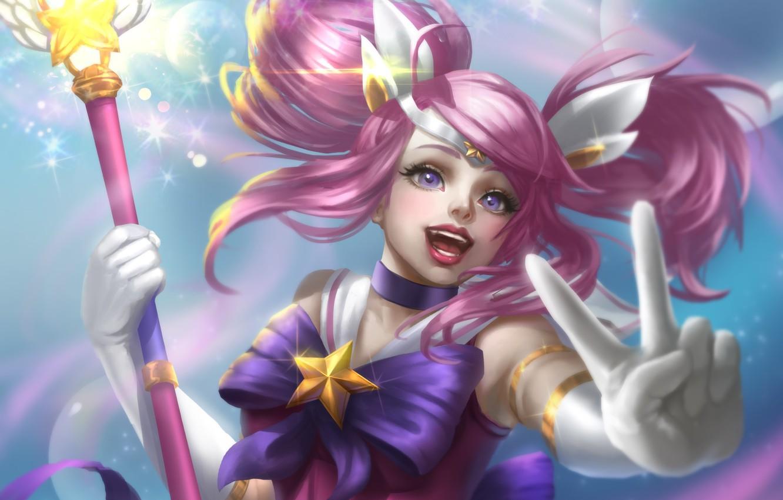 Photo wallpaper girl, hand, rod, gesture, League of Legends, pink hair, Star Guardian Lux