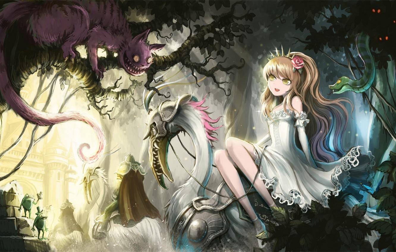 Photo wallpaper cat, girl, trees, butterfly, snake, anime, art, frogs, Alice in Wonderland, alice, alice in wonderland, …