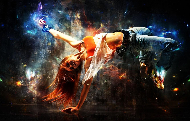 Photo wallpaper girl, joy, pose, dance