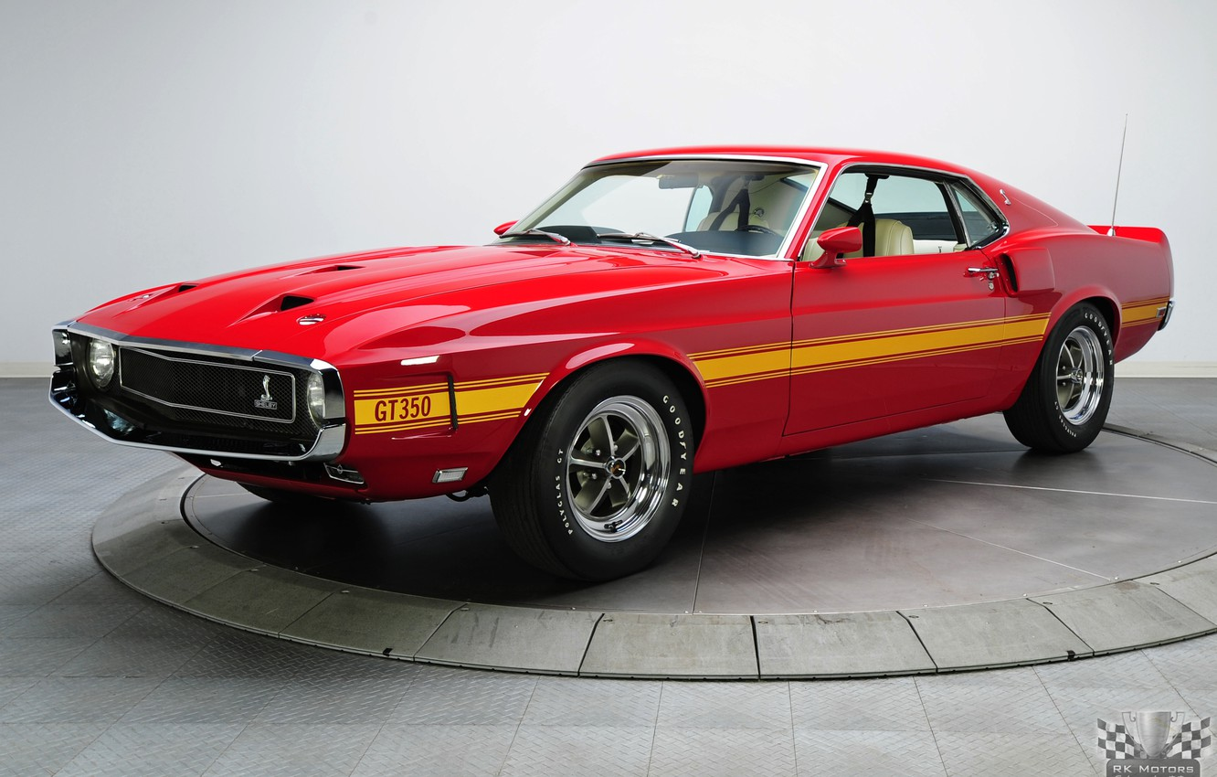 Photo wallpaper Shelby, 1969, Fastback, GT350, Classic cars, White Coupe, 4 Speed, 351 V8