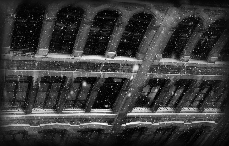 Photo wallpaper snow, wall, view, Windows