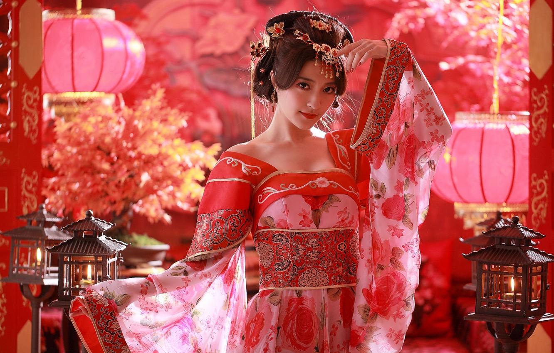Photo wallpaper girl, decoration, hairstyle, costume, Asian, lanterns, Chinese, ethno