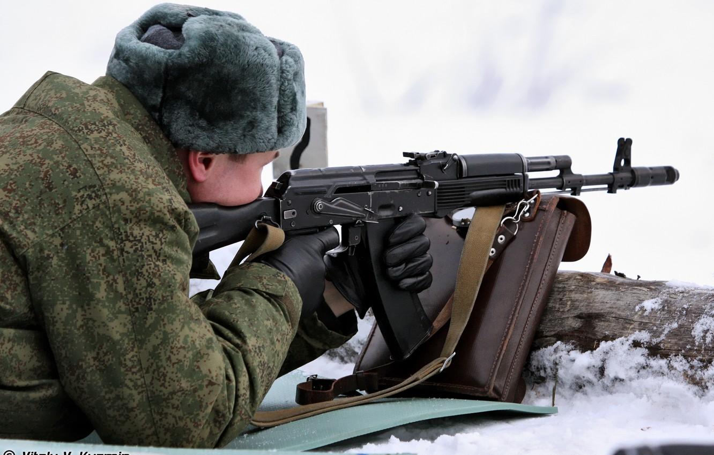 Photo wallpaper snow, hat, soldiers, figure, gloves, bag, hat, Airborne, Paratrooper, AK-74M, The shooting range