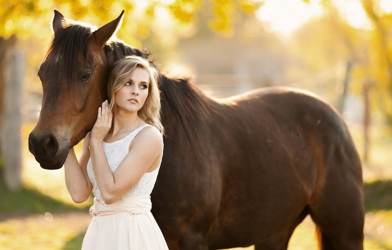 Photo wallpaper girl, mood, horse