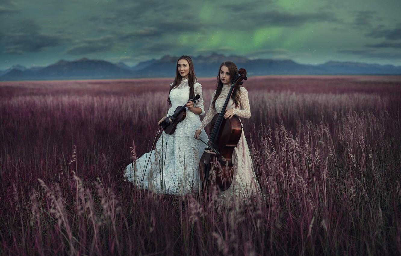 Photo wallpaper field, music, girls, instrumento