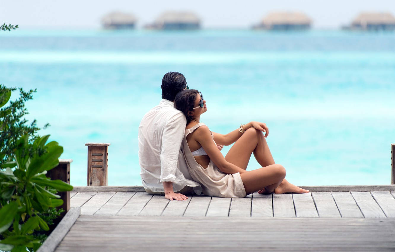Photo wallpaper the ocean, stay, relax, pair, two, resort