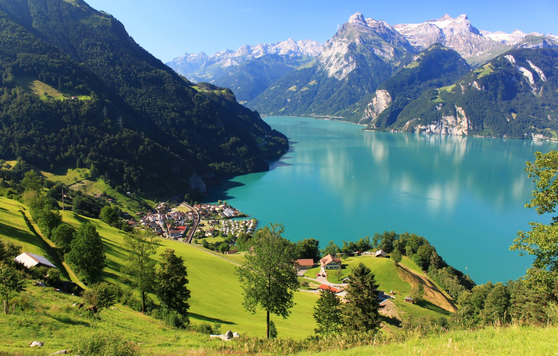 Photo wallpaper forest, snow, landscape, mountains, lake, rocks, Switzerland, town, Switzerland, scenery, home., Morschach, Shwyz