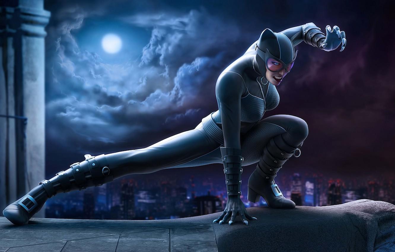 Photo wallpaper cat, night, the city, the moon, costume, latex, superhero, Catwoman, woman