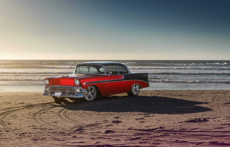 Photo wallpaper Chevrolet, Car, Front, Bel Air, Sun, Water, Old, Summer, Sea, 1956