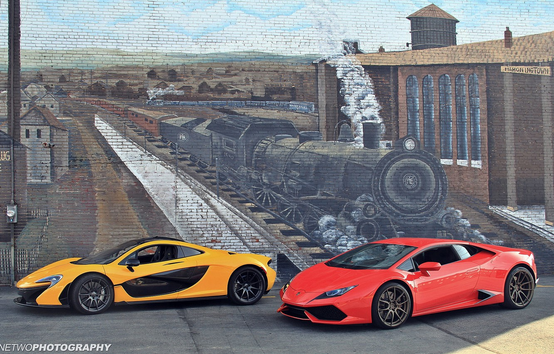 Photo wallpaper wall, figure, train, the engine, McLaren P1, Lamborghini Huracan