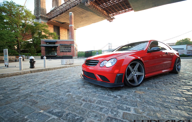 Photo wallpaper bridge, street, Mercedes Benz, AMG, Black Series, Concave, CLK63