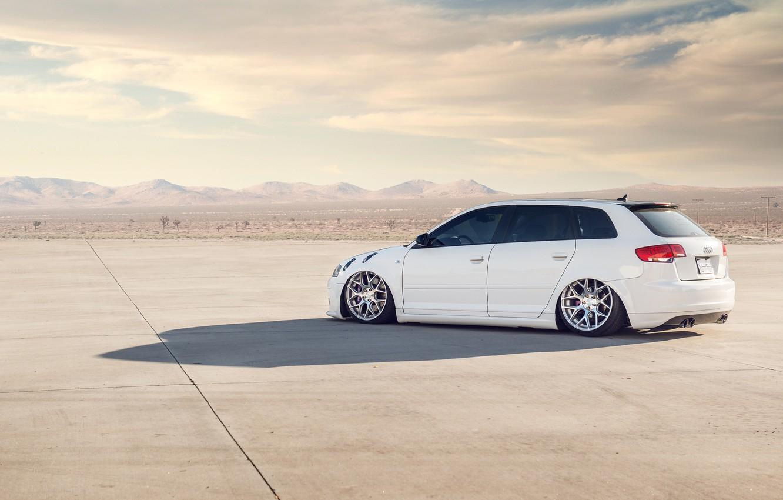 Photo wallpaper white, Audi, Audi, white, tuning, stance