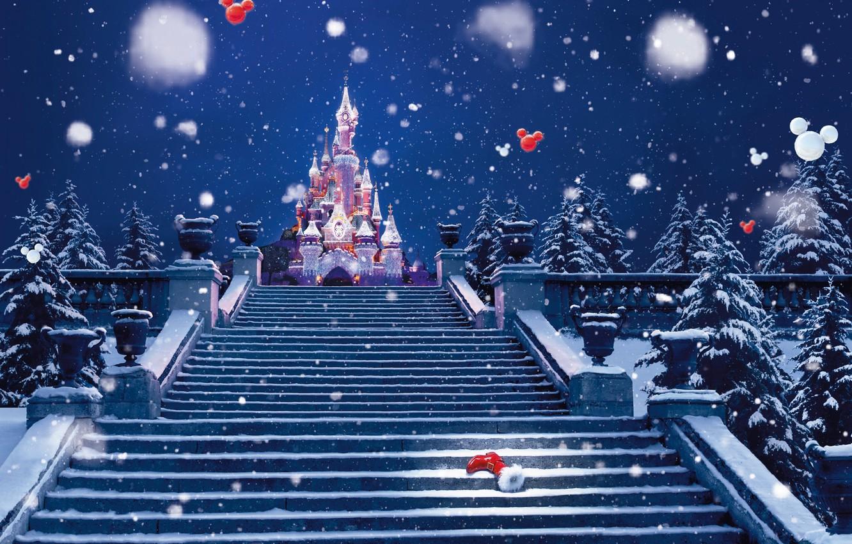 Photo wallpaper winter, snow, decoration, lights, castle, holiday, Paris, Christmas, Spruce, ladder, New year, stage, Paris, Disneyland, …