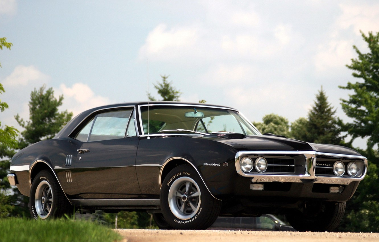 Photo wallpaper the sky, background, black, coupe, Pontiac, Pontiac, 1967, the front, Firebird, Muscle car, Muscle car, …