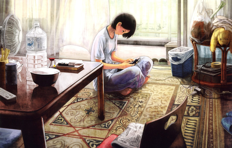 Photo wallpaper girl, apartment, console
