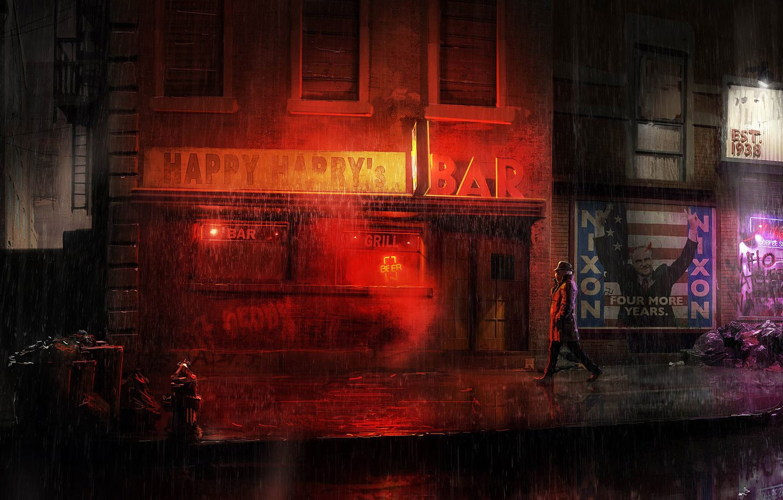 Photo wallpaper city, the city, street, comic, rorschach, dc comics, super hero, watchmen