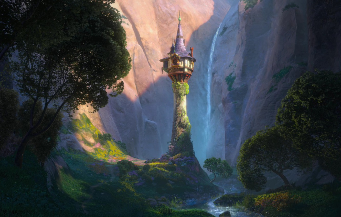 Photo wallpaper trees, flowers, mountains, castle, tower, valley, spire, Tangled, Complicated story, Princess Rapunzel, Rapunzel