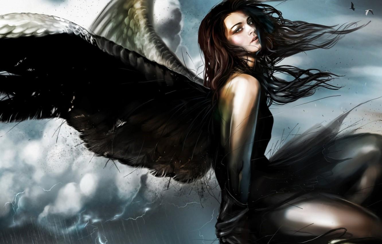 Photo wallpaper girl, fiction, wings, angel, fantasy