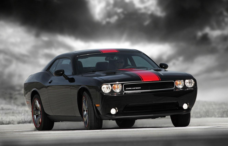 Photo wallpaper Dodge Challenger, Black, Rallye Redline
