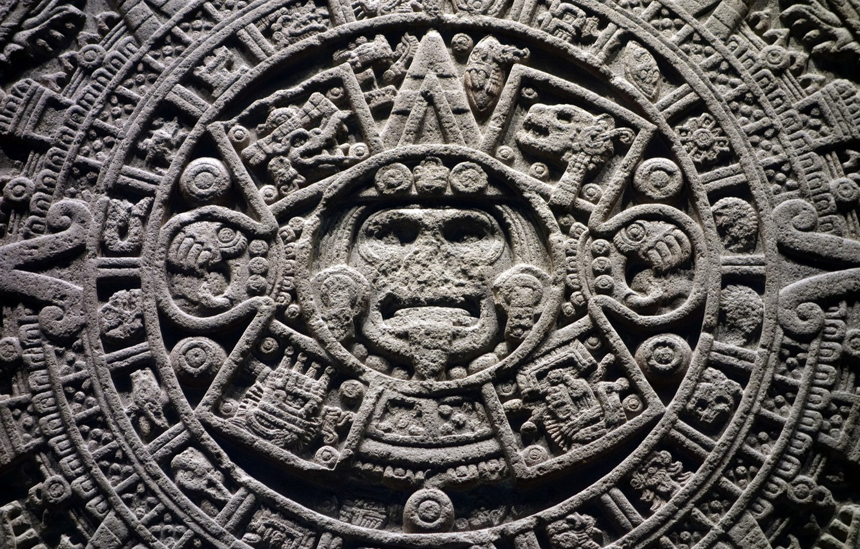 Photo wallpaper round, the Aztecs, calendar, Shem