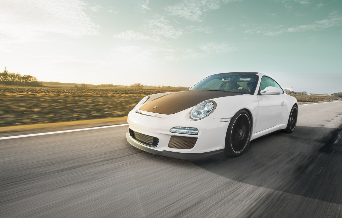 Photo wallpaper road, white, 911, Porsche, white, sports car, Porsche, GT3, in motion