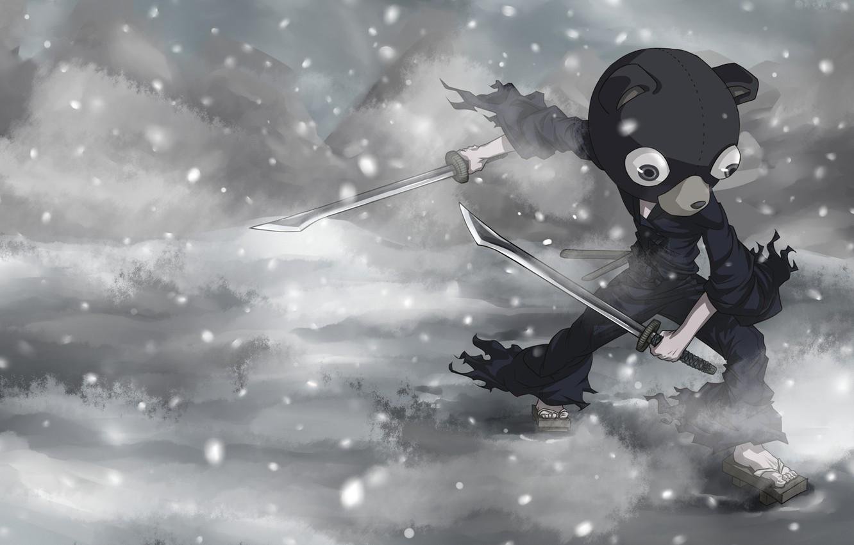 Photo wallpaper snow, weapons, anime, art, Kuma Sig by