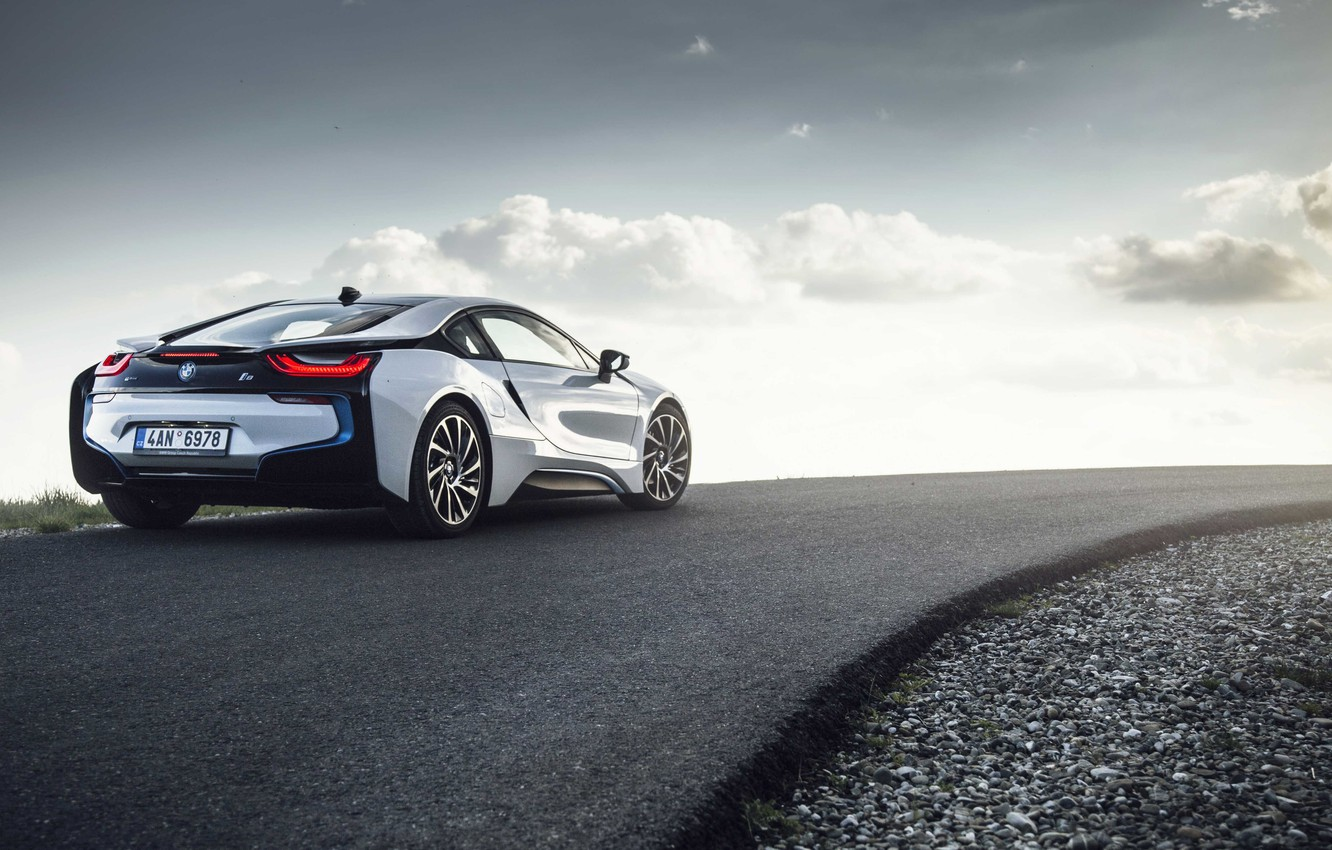 Photo wallpaper road, the sun, clouds, wheel, back, BMW i8