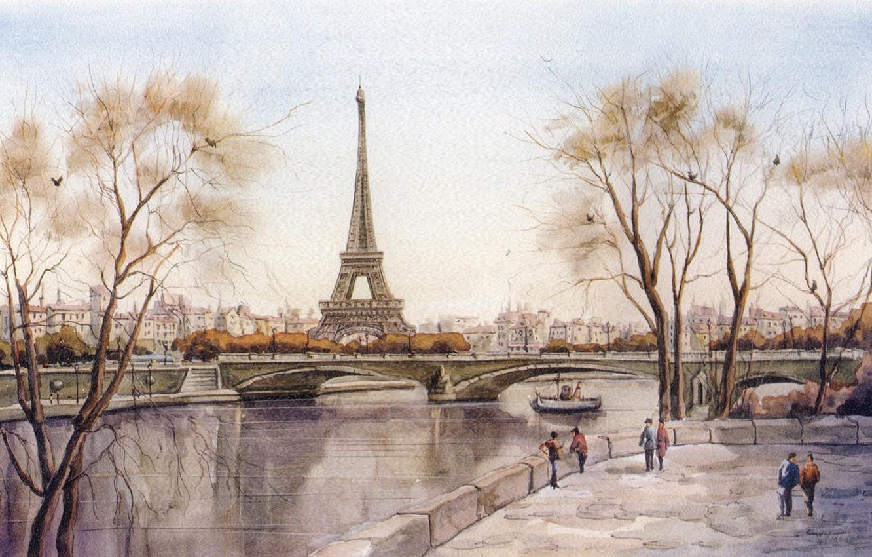 Photo wallpaper bridge, the city, river, figure, Eiffel tower, Paris, France