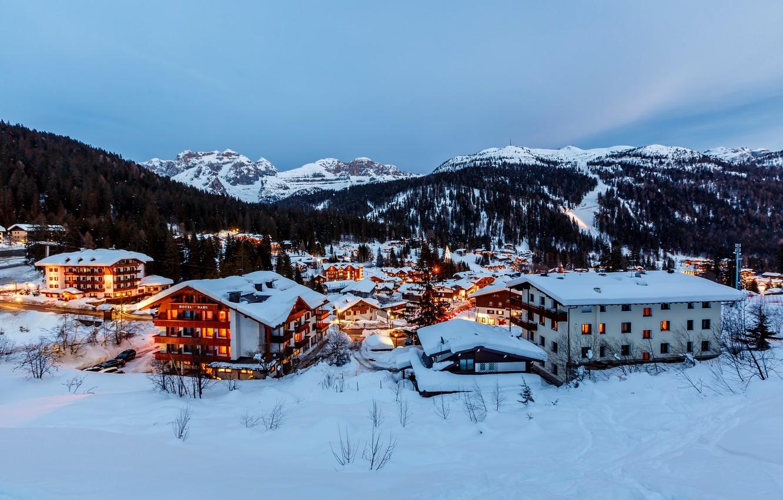 Photo wallpaper snow, mountains, the city, building, home, the evening, Alps, Italy, Italia, Alpi, Madonna di Campiglio, …