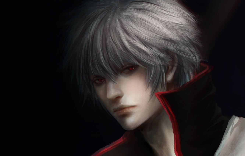 Photo wallpaper the dark background, guy, red eyes, white hair, Gintama, Sakata Gintoki