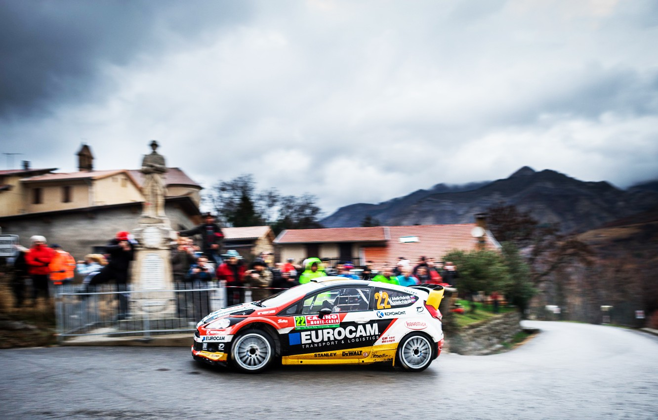 Photo wallpaper Ford, Auto, Road, The city, Sport, People, Ford, Race, WRC, Rally, Fiesta, Overcast