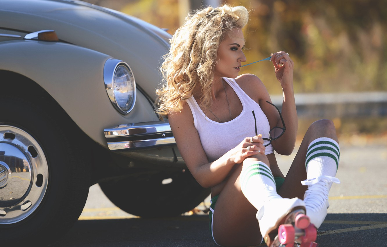Photo wallpaper girl, Mike, figure, videos, blonde, girl, knee, fitness, photographer, model, Eric Snyder
