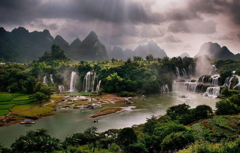 Photo wallpaper river, waterfalls, Vietnam, river, Vietnam, waterfalls, sunbeam, sunbeams