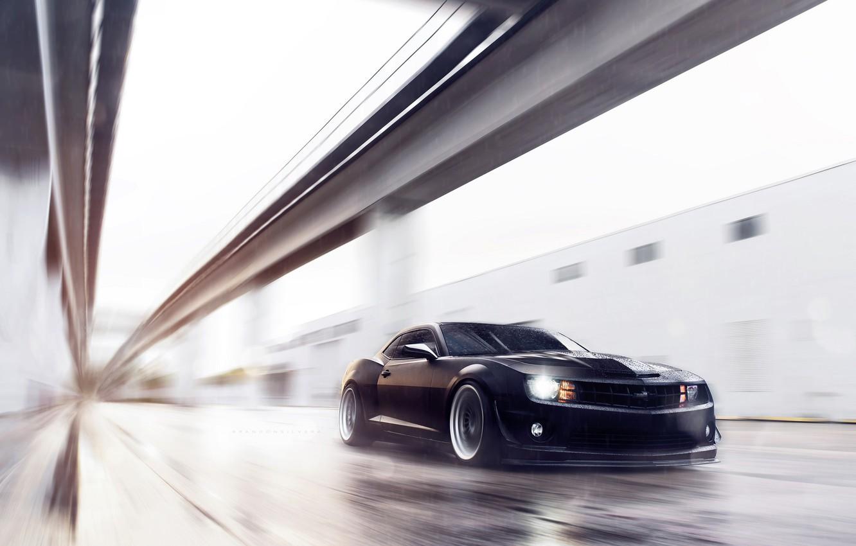 Photo wallpaper Chevrolet, Muscle, Camaro, Car, Front, Black, KURKS