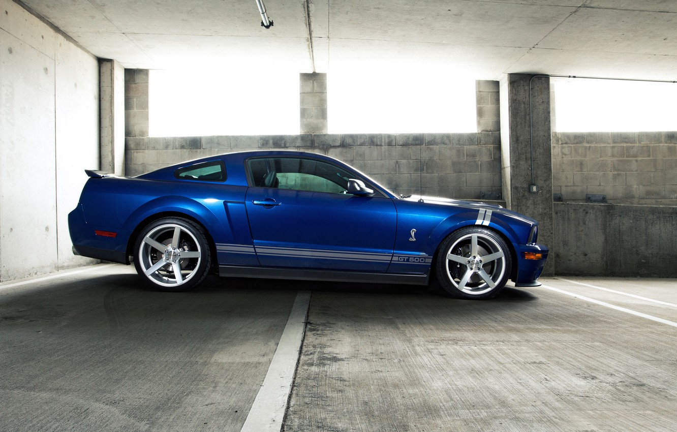 Photo wallpaper auto, blue, strip, mustang, Mustang, ford, shelby, Ford, Shelby, white stripes, gt500, rechange, avto