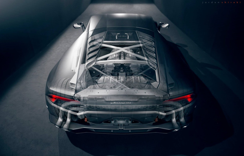 Photo wallpaper Lamborghini, Supercar, Rear, Transparent, Huracan, LP610-4
