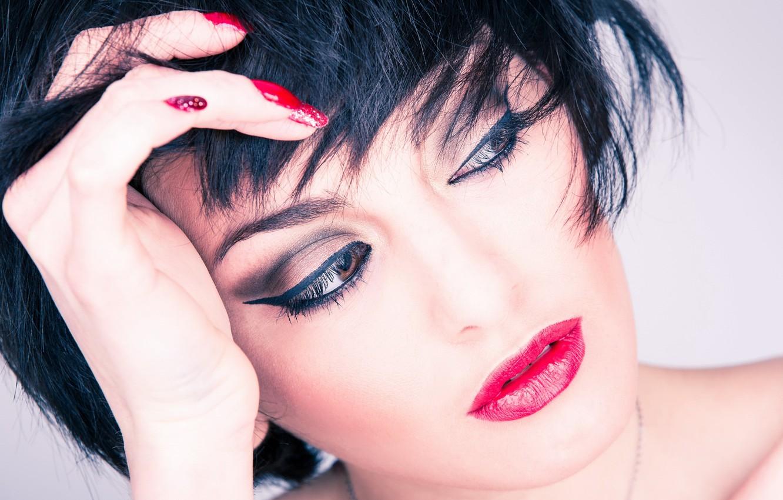 Photo wallpaper brunette, sensual, makeup