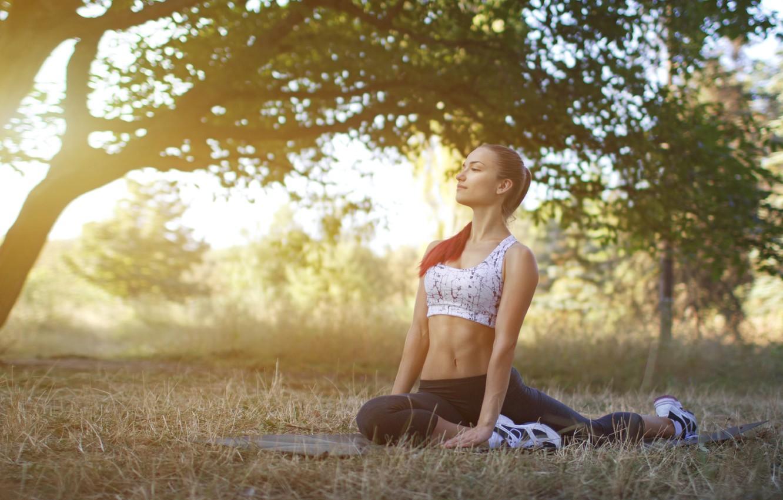Photo wallpaper sunset, pose, yoga, outdoors