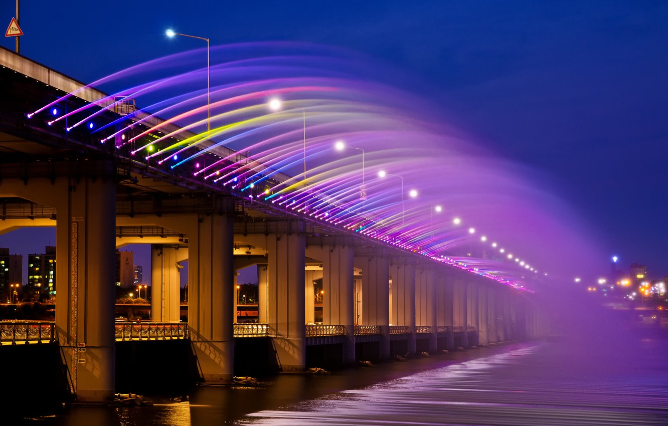 Photo wallpaper night, bridge, the city, lights, rainbow, Asia, Korea, Seoul, rainbow fountain, banpobridge