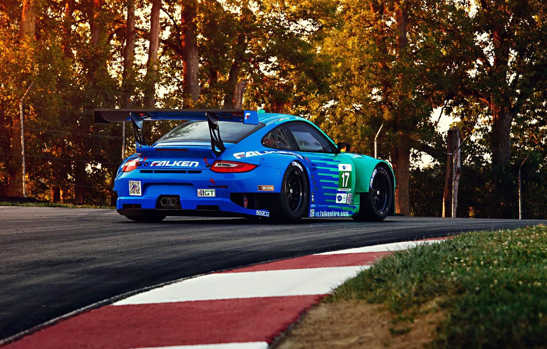Photo wallpaper 911, Porsche, GT3, RSR, Team, Hawks, Competition, Widebody, Sportcar, Track, Spoiler, Trees