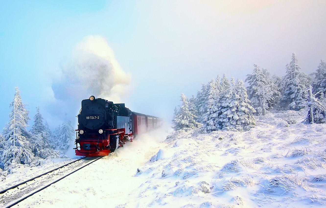 Photo wallpaper winter, forest, snow, train, the engine