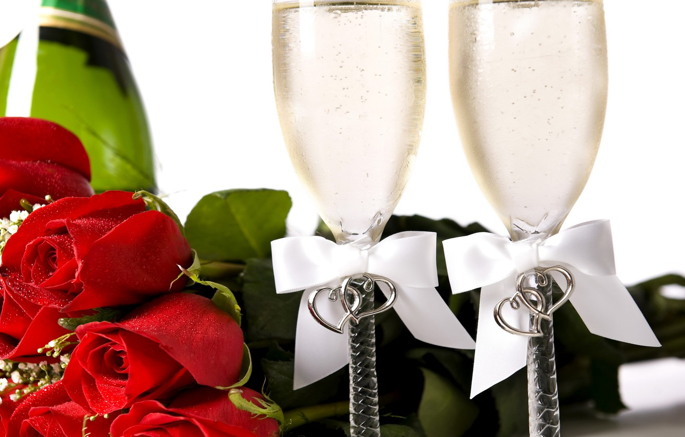 Photo wallpaper photo, Flowers, Red, Glasses, Roses, Holiday, Food, Bow, Valentine's Day, Champagne
