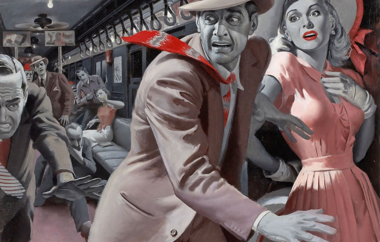 Photo wallpaper girl, retro, train, panic