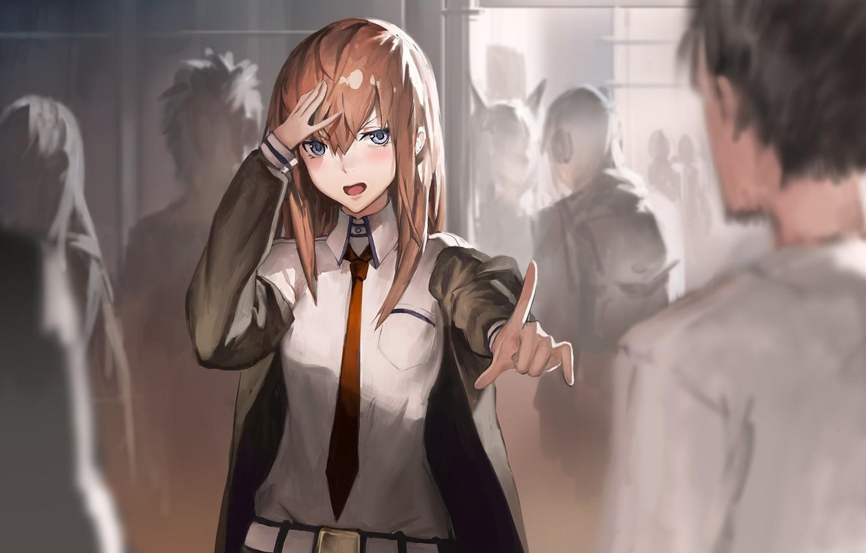 Photo wallpaper girl, anime, art, tie, guy, makise kurisu, okabe rintarou, steins;gate, twh, aituoku